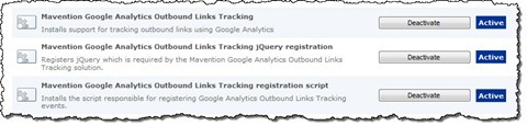 Mavention Google Analytics Outbound Links Tracking Features listed on the Site Collection Features page