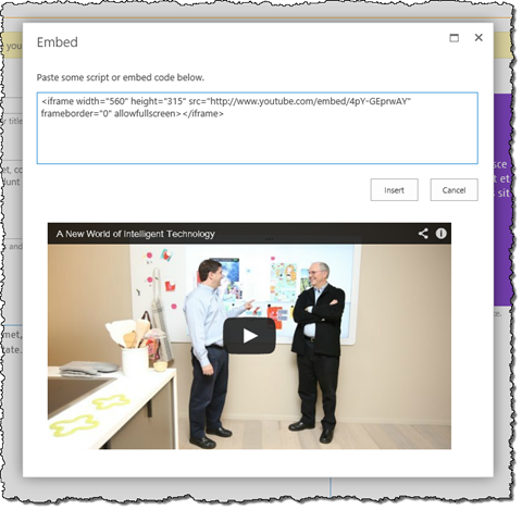 Inserting YouTube video snippet on a publishing page in SharePoint 2013