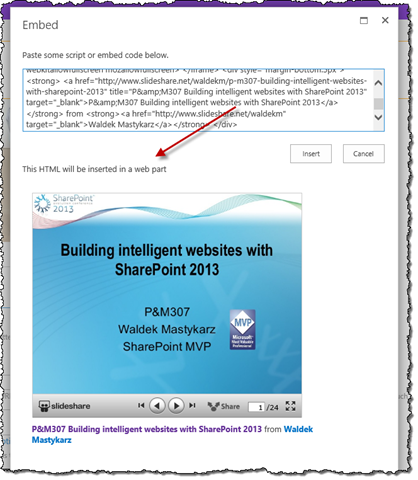 Embedding a SlideShare widget on a publishing page in SharePoint 2013