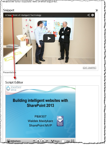 YouTube and SlideShare widgets embedded on a publishing page