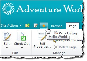 Custom button added to the Quick Access Toolbar