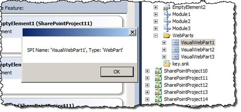 Name and type of the selected SharePoint Project Item displayed in a dialog window
