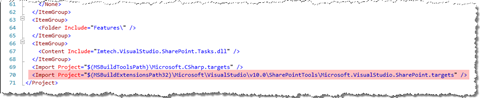 Microsoft.VisualStudio.SharePoint.targets file highlighted in the project file