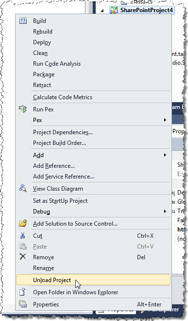 Unloading Project in Visual Studio