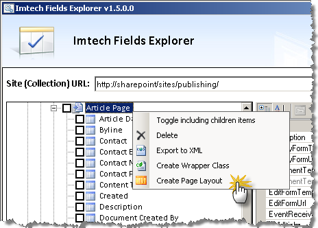 Create Page Layout using Imtech Fields Explorer