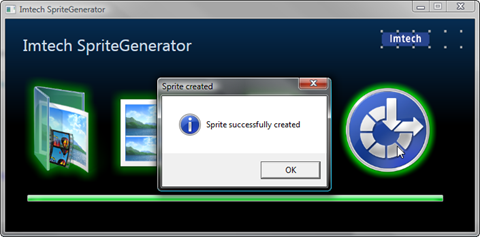 Notification about the application being done with converting the sprite