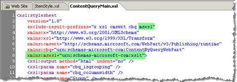 Including the msxsl namespace in the ContentQueryMain.xsl namespace