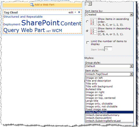 Choosing the Imtech.TagCloud template in the Content Query Web Part presentation settings