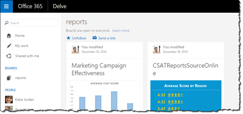 Reports board displayed in Office Delve