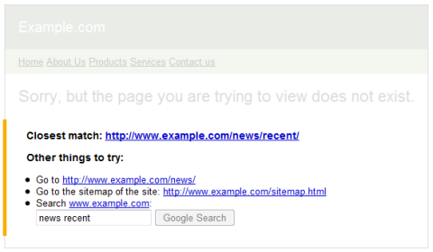 Google's custom 404 widget