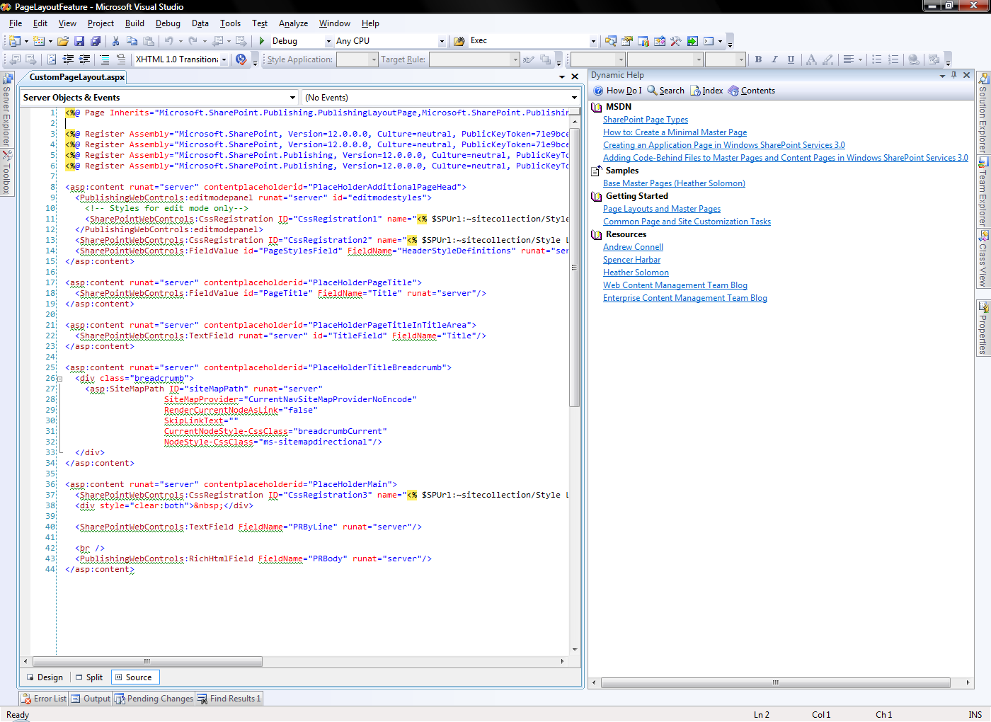 Help Resources for SharePoint developers (Imtech Microsoft