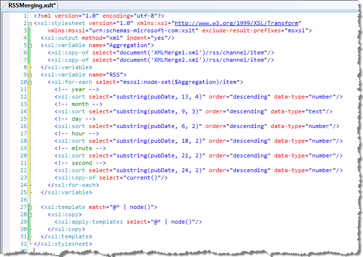 How to do it: RSS aggregation (merging multiple XML files