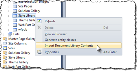 The 'Import Document Library Contents' menu option highlighted in the context menu of a Document Library in the Server Explorer