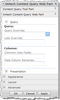Query section of the settings of Imtech Content Query Web Part