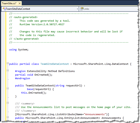SPMetal definition generated using the Imtech Get SPMetal Definition Extension is displayed as a new file in Visual Studio