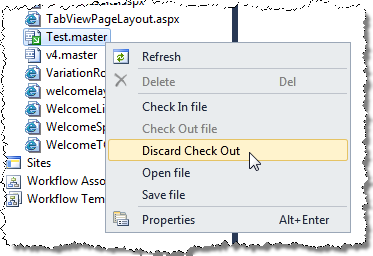Discarding Check Out in the SharePoint Explorer
