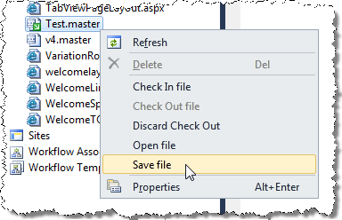 Saving contents of a file using the Save file menu option