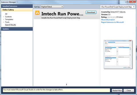 Installing Imtech Run PowerShell Script Deployment Step using Visual Studio Extension Manager