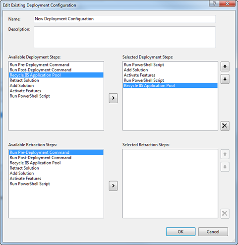 Multiple Run PowerShell Script tasks selected in the Deployment Configuration