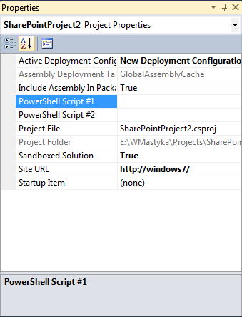 PowerShell Deployment Steps properties in the Properties Window