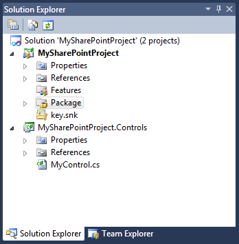 Solution with two projects: MySharePointProject SharePoint Project and MySharePointProject.Controls Class Library project with some controls in it