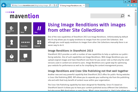 Blog post published using the SharePoint 2013 cross-site publishing capability on the mavention.com website