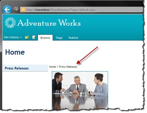 Breadcrumbs displayed on a Publishing Page in SharePoint 2010