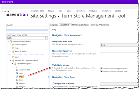 Visibility in Menus of Terms in Managed Navigation scenario in SharePoint 2013