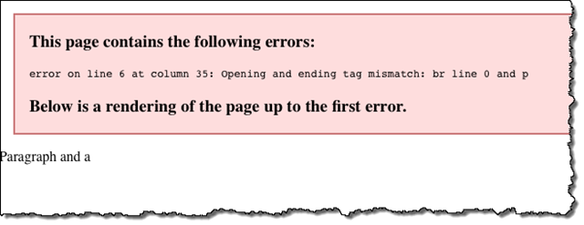Error message rendered for an XML document with an error