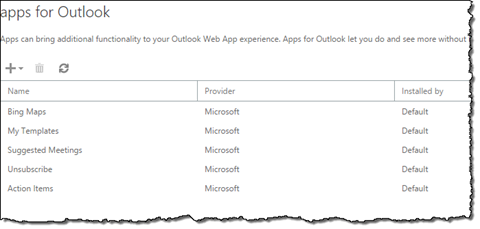 The 'Apps for Outlook' page in Outlook Web Access