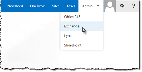 The 'Exchange' option highlighted in the Admin menu in Office 365