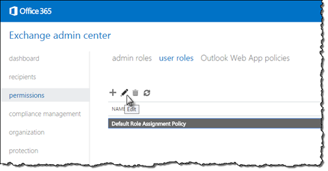 The 'Edit' policy button highlighted in Exchange admin center