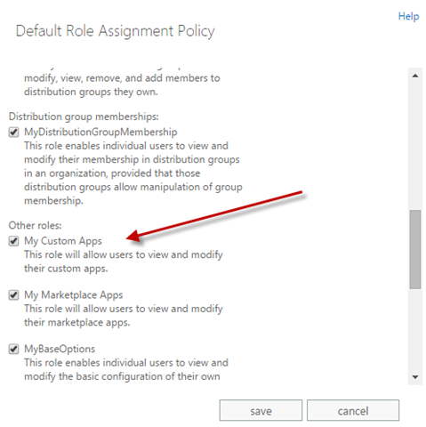 The 'My Custom Apps' permission highlighted in the Role Assignment Policy window