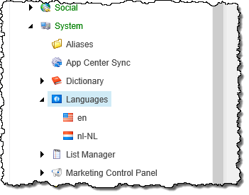 The Languages item highlighted in the Content Editor in Sitecore