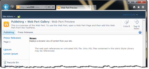 Exception while previewing a Content Query Web Part using an XSLT file from the Layouts directory