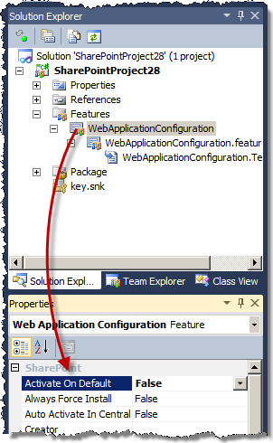 Activate On Default Feature setting set to False and highlighted in Visual Studio 2010