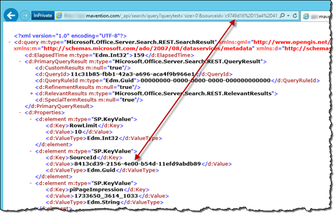 Arrow pointing between source ID parameter in the URL in the browser address bar and the source ID in the search results