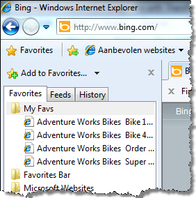 Screenshot of favorites in Internet Explorer. Because the title of every favorite begins with 'Adventure Works Bikes' it is difficult to find the right favorite.