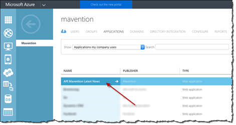 Red arrow pointing to the application entry associated with the Azure API App