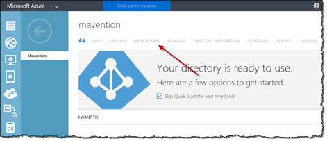 Red arrow pointing to the Application option in the old Azure Management Portal