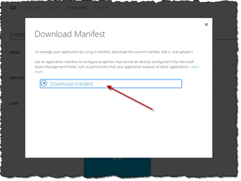 Red arrow pointing to the 'Download manifest' link in the 'Download Manifest' dialog