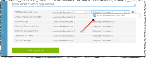 The 'Access' permission higlighted in the delegated permissions drop-down