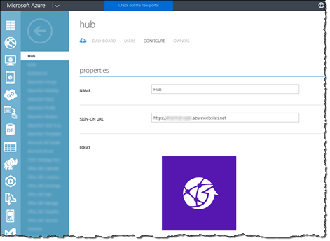 Mavention Hub AAD application entry details displayed in the old Azure Management Portal
