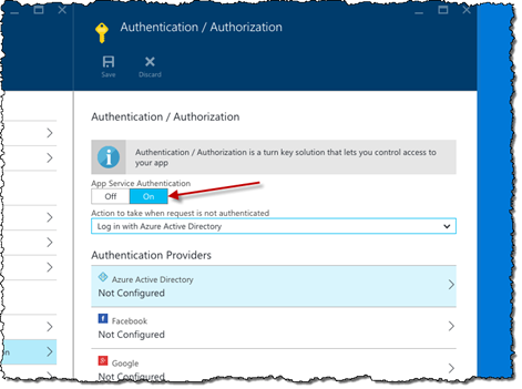 App Service Authentication option enabled for the Azure API App