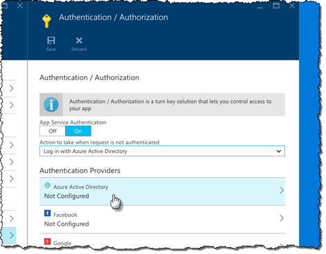 'Azure Active Directory' option highlighted in the list of available Authentication providers