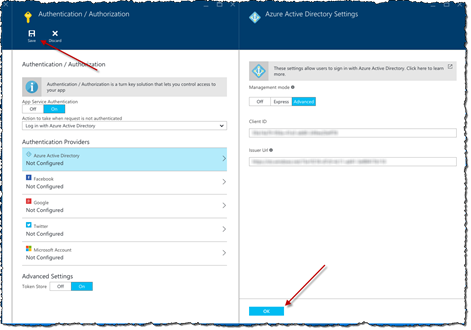 Red arrows pointing to the OK button on the 'Azure Active Directory Settings' blade and the Save button on the 'Authentication / Authorization' blade