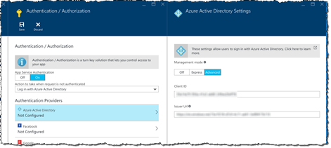 Application registration information filled in on the 'Azure Active Directory Settings' blade