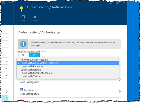 The 'Login with Azure Active Directory' option highlighted in the 'Action to take when request is not authenticated' drop-down