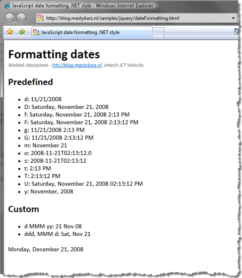 Dates formatted with JavaScript
