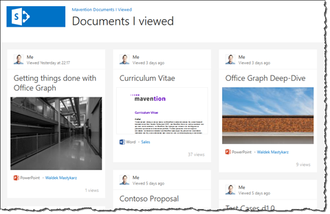 Documents I viewed recently showed in the Mavention Documents I Viewed App for SharePoint